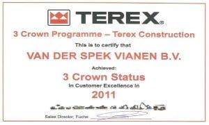 Terex geeft Van der Spek hoogste aantal sterren