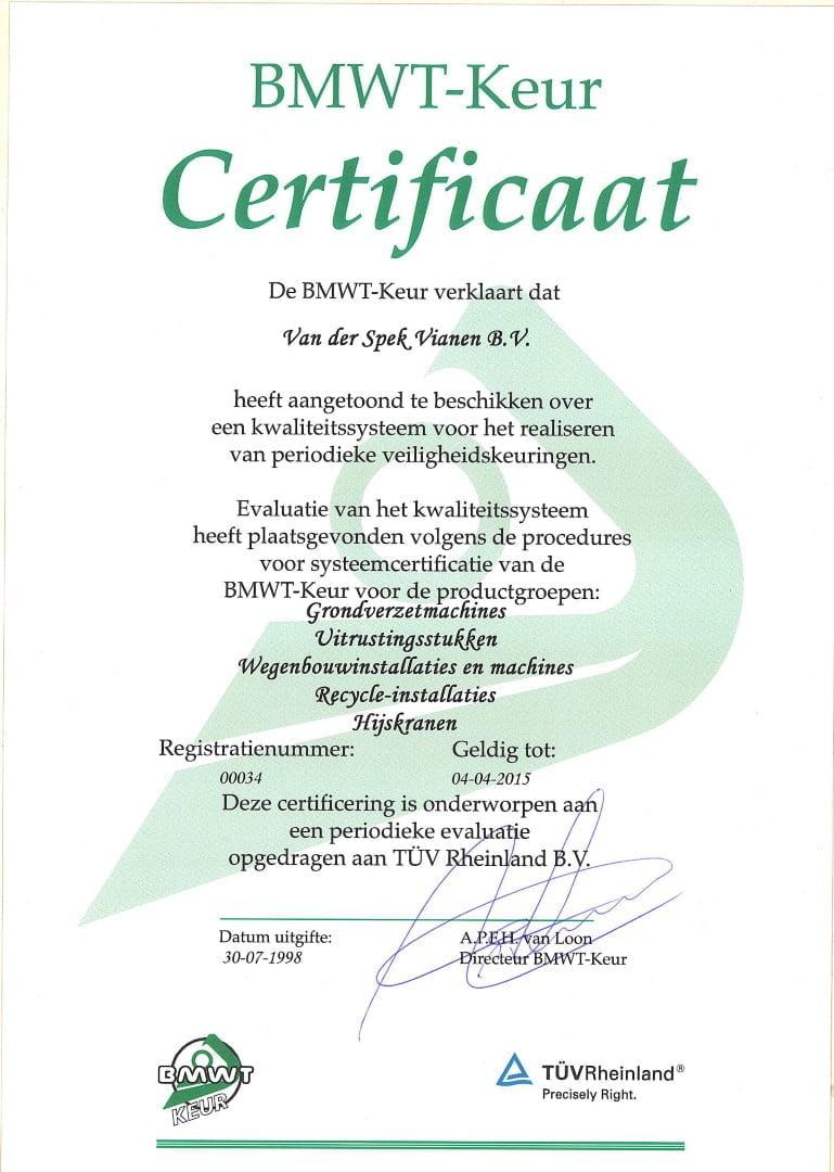 Van der Spek verlengt BMWT-Keur Certificaat