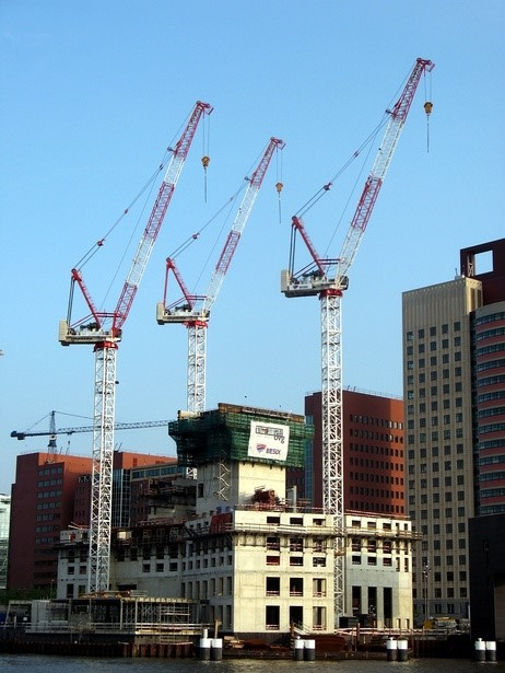 Grootste aantal Liebherr topkranen op Nederlandse bouwplaats